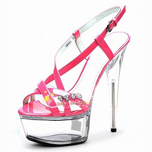 Ausgehöhlten crystal Sandale 17 cm super - - high - super heels rose ROT c02e95