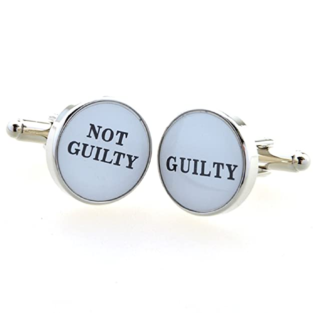 MRCUFF Guilty Not Guilty Attorney Lawyer Judge Law Pair Cufflinks in a Presentation Gift Box & Polishing Cloth (Guilty Not Guilty)