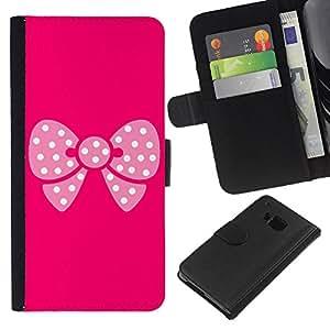 KingStore / Leather Etui en cuir / HTC One M7 / Modelo de mariposa rosa