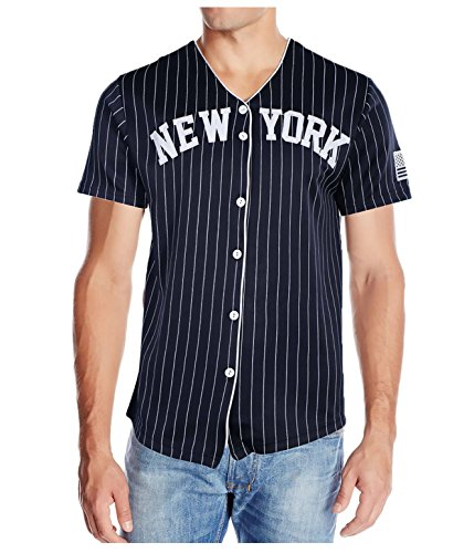 True Rock Men's New York Pinstripe Baseball Jersey-Navy/White-Large for sale  Delivered anywhere in USA