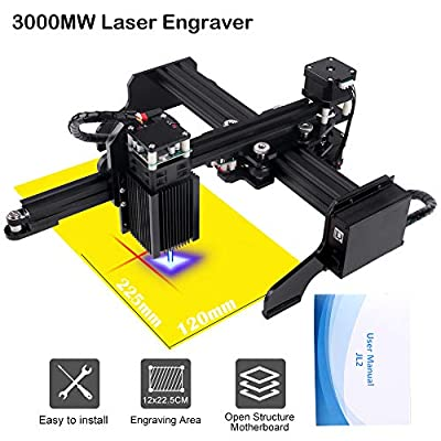 3000mw Upgrade Laser Engraver CNC Engraving Machine DIY Pro Engraver Router Printer Supporting Computer/Offline/Bluetooth Control for Handicraft Wood Desktop cenoz