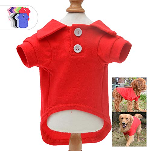 Lovelonglong Basic Dog Polo Shirts Premium Cotton, Polo T-Shirts for Large Medium Small Dogs with a Two-Button Collar Blank Color Red XL