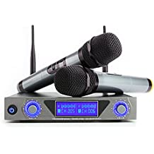 ARCHEER UHF Wireless Microphone System with LCD Display Dual Channel Handheld Microphones Karaoke Mixer for outdoor wedding, Conference, Karaoke, Evening Party