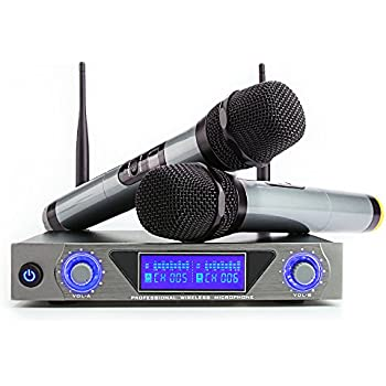 ARCHEER UHF Wireless Microphone System with LCD Display Dual Channel Handheld Microphones Karaoke Mixer for outdoor wedding, Conference, Karaoke, ...