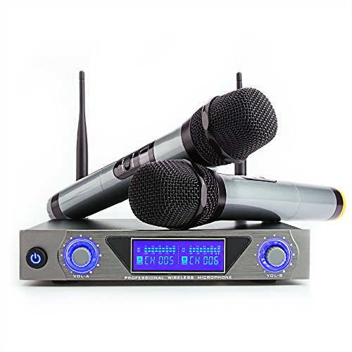 ARCHEER UHF Wireless Microphone System with LCD Display Dual Channel Handheld Microphones Karaoke Mixer for outdoor wedding, Conference, Karaoke, Evening (Dual Channel Handheld)