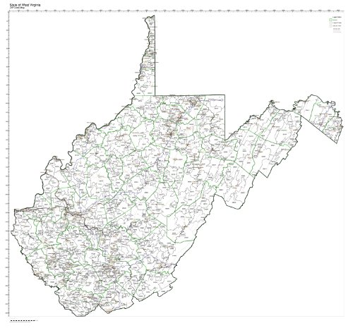 (ZIP Code Map State of West Virginia Not)