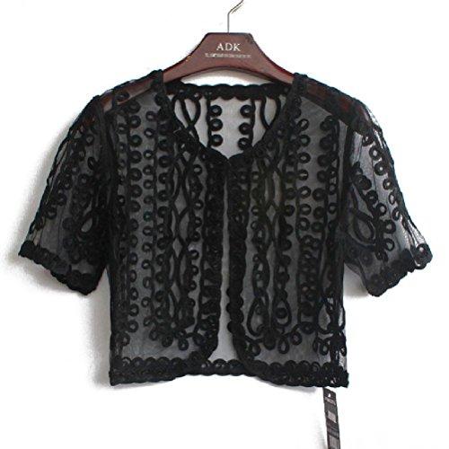 Embellished Bolero - Lace Embellished Cape Short Sleeve V Collar Women Short Femme Bolero Coat