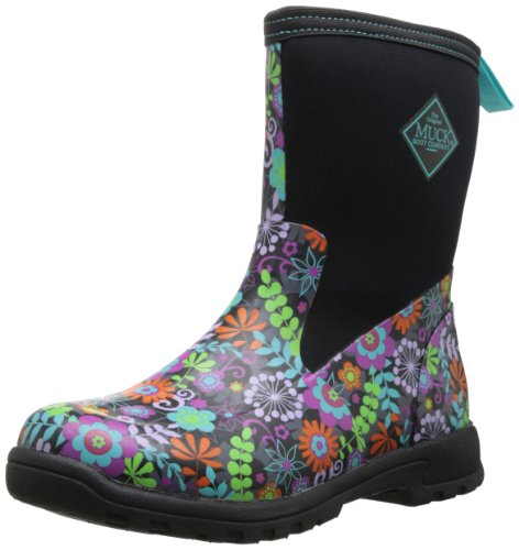 MuckBoots Women's Breezy Mid Boot,Black/Floral,9 M US