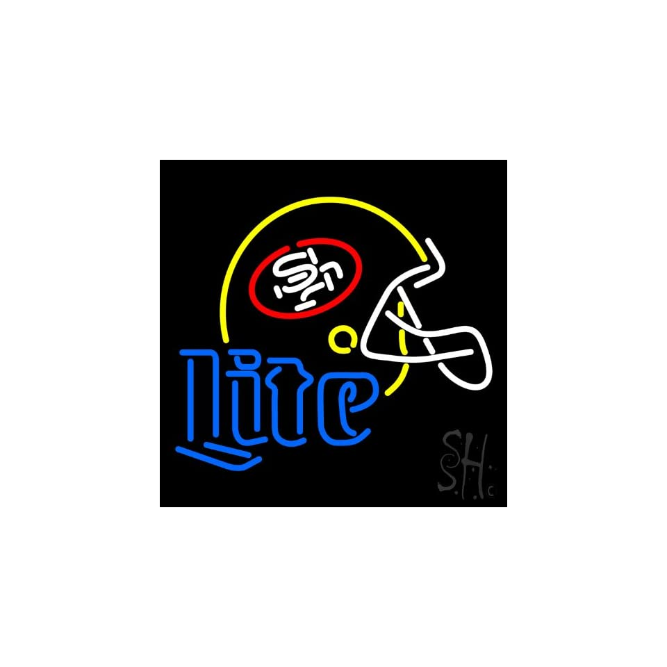 "Miller Lite San Francisco Helmet Outdoor Neon Sign 24"" Tall x 24"" Wide x 3.5"" Deep  Business And Store Signs"
