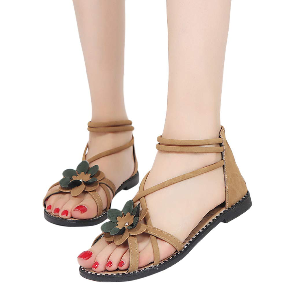 a86c075da47c0a Amazon.com  Baigoods Women Clip Toe Herringbone Sandals Beach Flat Shoes  Ladies Summer Flower Bandage Sandals  Clothing