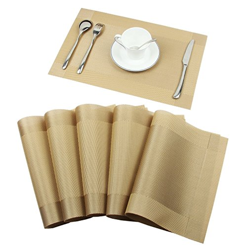 6 PCS Washable Waterproof PVC Dining Room Placemats, Classic Woven Vinyl Table Mats Heat-resistant Non-slip Insulation Table Runner For Kitchen Dining Table Decoration (Gold 6 Pcs) (Tables Room Dining Classic)