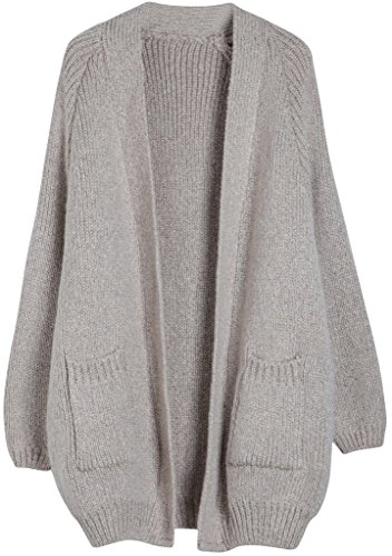 Vogueearth Fashion Damenu0027s Batwing Hülse Knit Loose Thick Sweater  Sweatshirt Mantel Open Cardigan Strickjacke Licht Beige