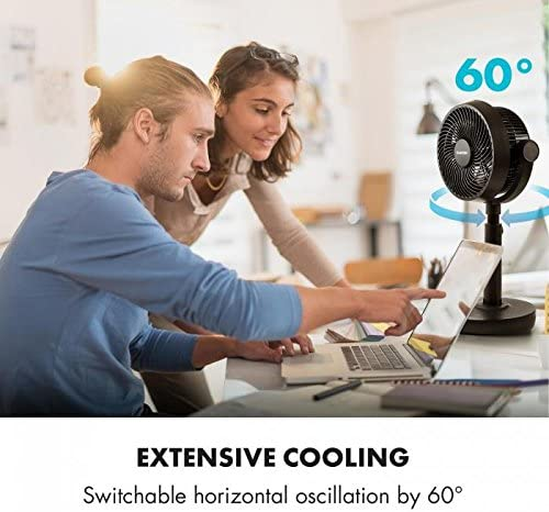 KLARSTEIN Neo Stream Table Fan Adjustable Air Circulator Remote Control 8 Modes Oscillating Portable Strong and Quiet Operation Black