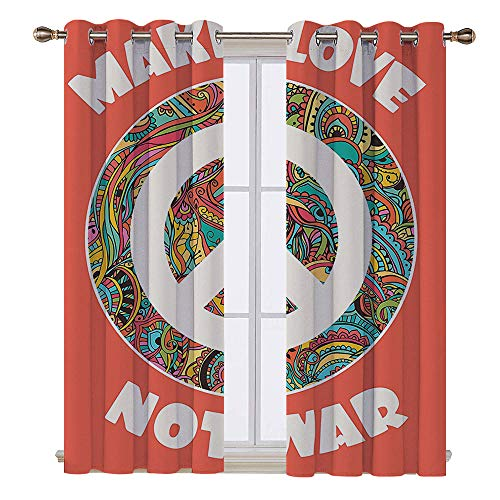 SATVSHOP Textured Blackout Curtains - 63W x 45L Inch-Hippie Style Ornamental Creative Youth History Politics Make Love Not War -