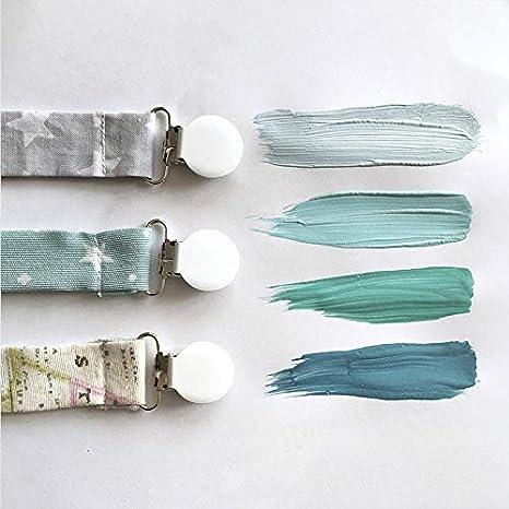 Pack 4 chupeteros sujetachupetes con clip metálico hecho en España by Mimuselina cadena colgador chupete bebé (GRIS)