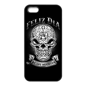 Custom Design TPU Rubber Hard Soft Compound Protective Cover Case for iPhone 5 5s Day of the Dead Sugar Skull
