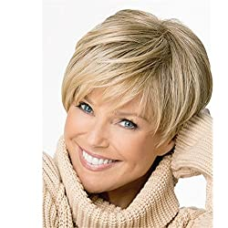 JYWIGS 12'' Blonde Short Wig for Women Multicolor Synthetic Fiber Side Swept Full Bangs Wig Cap Hairnets Gift