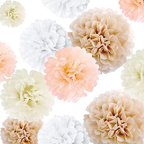 Party Decor Pom Pom Set (20 pcs): Neutral Color Flower Decorations, Paper Tissue Pompoms for Celebrations & Events, Birthday, Baby & Bridal Showers, Weddings [White, Ivory, Peach, Champagne]