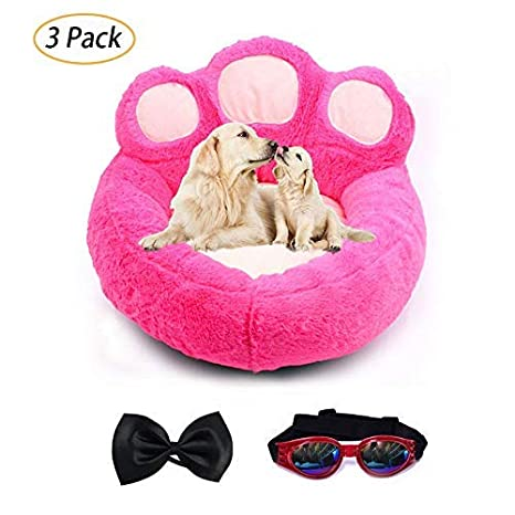 LA VIE Cama Sofá Redondo para Mascotas Forma de Garra Cesta Linda de Perros con Cojín Extraíble Casa Cama Nido Cómoda para Gatos y Perros L en Roja