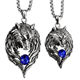 Angel Jewelry Stainless Steel Wolf Couple Necklaces for Him and Her 20'' 24'' C...