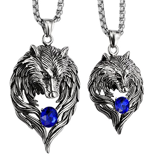 Angel Jewelry Men's Women's Couple Necklaces Stainless Steel Wolf 20