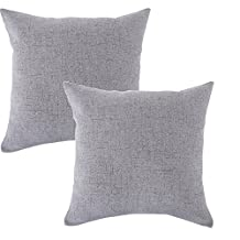 Linen Pillow Covers 20 x 20 Inch Sets of 2 Grey Decorative Square Throw Pillow Cover Cushion Case Sofa Durable Modern Stylish Linen Grey Throw Cushion Covers Hidden Zipper