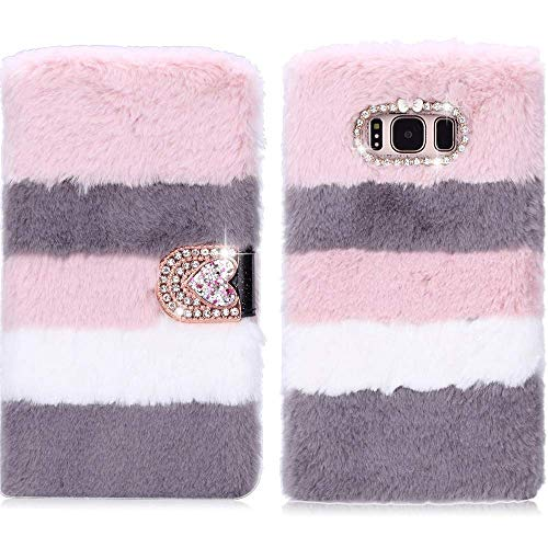 for Samsung Galaxy S9 Case LAPOPNUT Luxury Faux Fur Flip Case Super Soft Cover Cute Fluffy Furry Folio Shockproof Cover with Chic Bowknot Bling Crystal Love Heart Diamond (Grey&Pink)