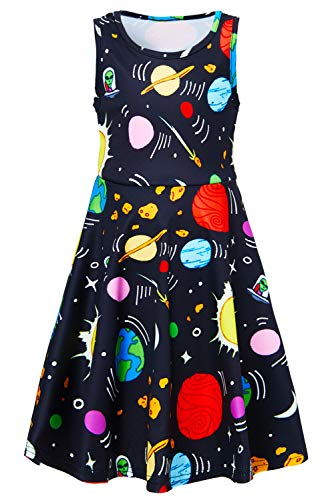 Planet Dress for Big Girls Size 10-12 13t 14 Junior Cute Young Teen Students Galaxy Fashion Modest Green Princess Pageant Dresses Up Clothes Fancy Black Space Fantastic Summer Prom Ball -