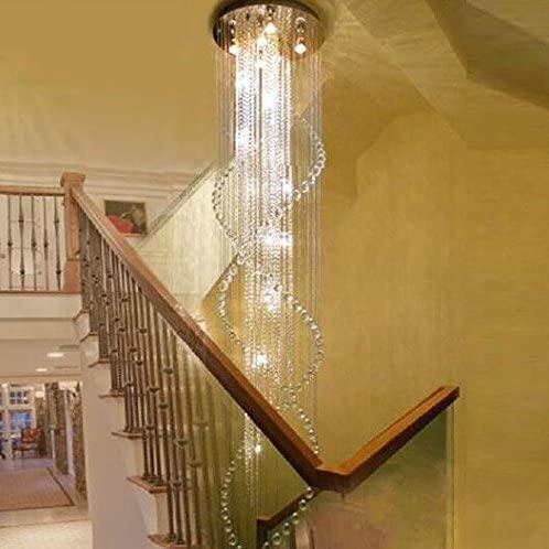 7PM H110 x W32 Modern Double Spiral Rain Drop Clear K9 Crystal Chandelier for Hotel Hall Staircase Lighting Fixture