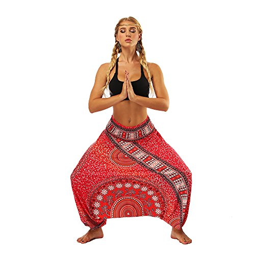 - TOTOD Pants Women Casual Loose Baggy Boho Printing Bloomers Aladdin Harem Drop-Crotch Trousers Red