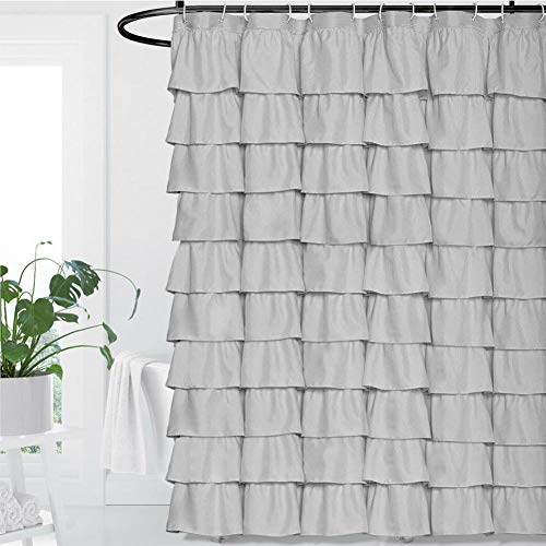 Volens Gray/Grey Ruffle Shower Curtain Fabric/Cloth/Rustic Shower Curtains for Bathroom, 72 x 72 inch Long by Volens (Image #6)