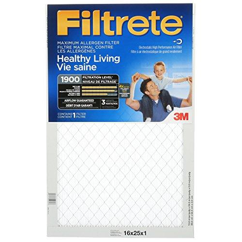 Filtrete MPR 1900 16 x 25 x 1 Healthy Living Ultimate Allergen Reduction HVAC Air Filter, Captures Fine Inhalable Particles, 2-Pack