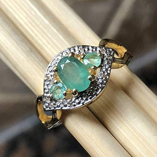 - Natural Green Emerald & White Topaz 14K Yellow Gold over Sterling silver Engagement Ring sz 8