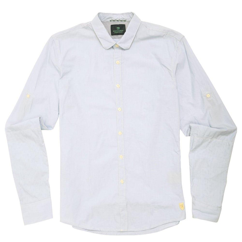 Scotch & Soda Rolled Cuff Shirt, Dessin A XLarge Blue Blue