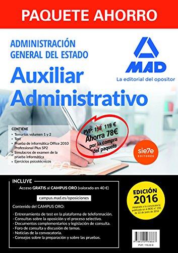 Paquete Ahorro Auxiliar Administrativo Del Estado. Ahorro De 78 €
