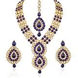 I Jewels Jewellery Set with Maang Tikka for Women IJ253Bl (Blue)