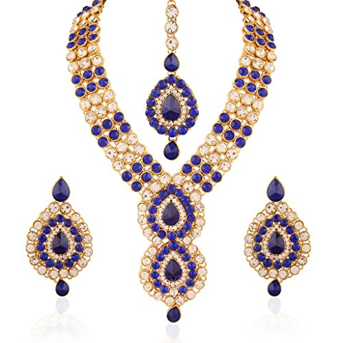 I Jewels Jewellery Set with Maang Tikka for Women IJ253Bl (Blue) by I Jewels