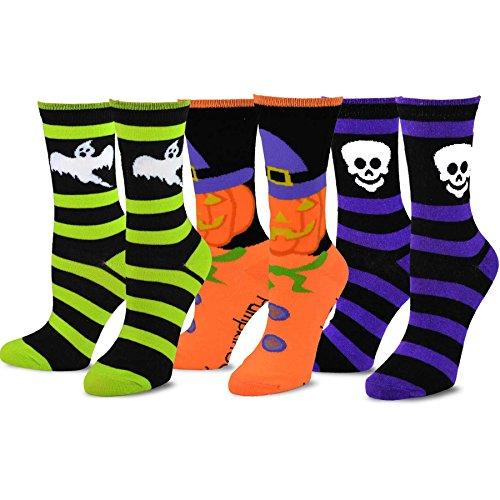 TeeHee Novelty Happy Halloween Fun Crew Socks for Women 3-Pack (Ghost Skeleton Pumpkin) (Socks Pumpkin)