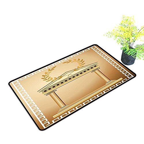 Diycon Interior Door mat Toga Party Antique Temple with Roman Olive Branch and Greek Architecture Motif W35 xL59 Non-Slip Backing Light Brown and Coffee
