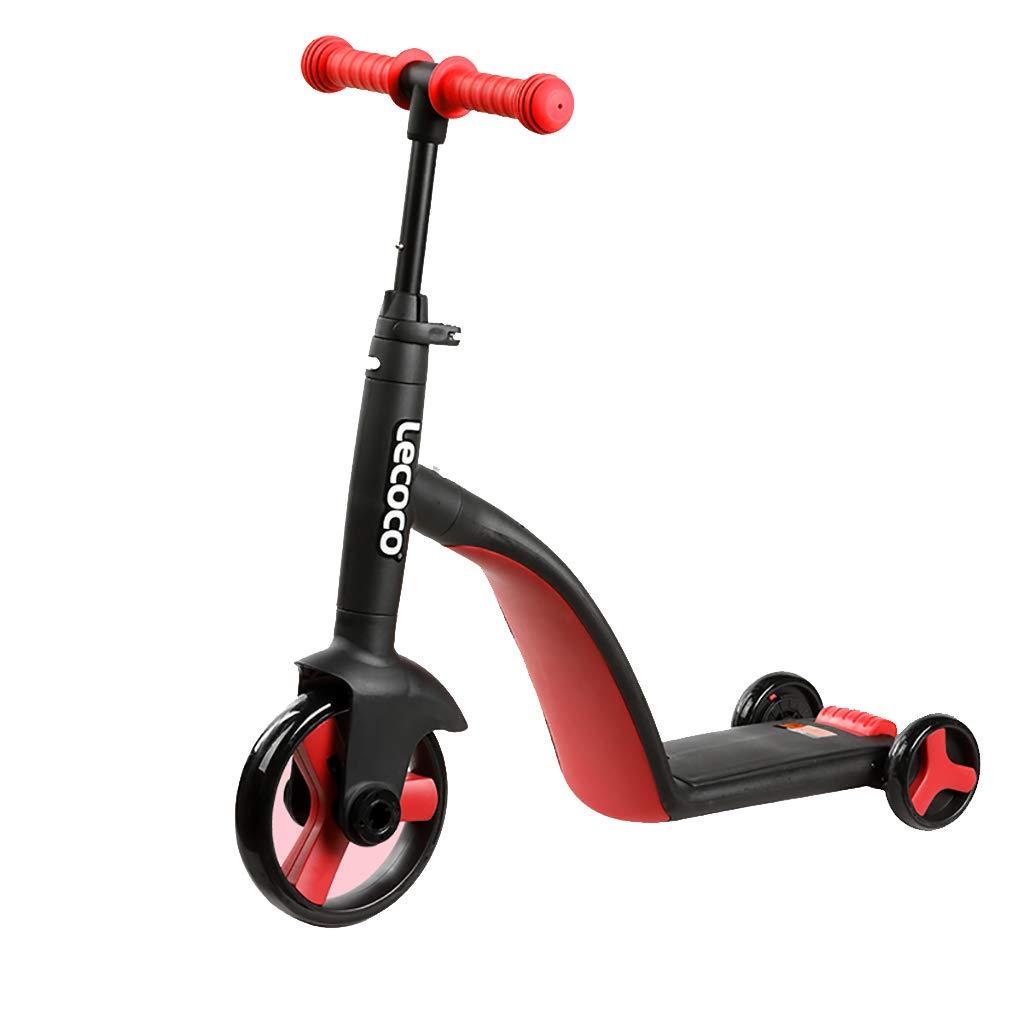 1に3子供スクーター、2-6年古い多機能ワンクリックコンバージョン3ホイールキックスクーター、子供バランス車三輪車 (色 : Red)  Red B07NPL96V9