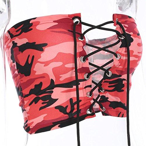 Femmes Gilet Rouge Impression Et T Tops Blouse Sexyville Camouflage Shirt Bandage Dbardeur 7xwOBf