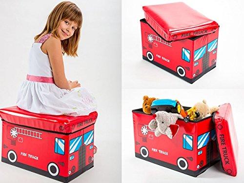 Aufbewahrungsbox mit Deckel Spielzeugkiste Spielzeugbox Sitz Hocker 3715 (Feuerwehr)