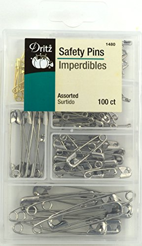 Safety Pins (Dritz 1480 Assorted Safety Pins with Storage Box Safety Pins with Plastic Storage Box, Assorted - 100Count)