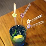 DOCTORBEE Bent Glass Drinking Straws 9MM 9Inch for Beverage Water Tea Coffee Milk Set of 4 With a Brush Flower Clear