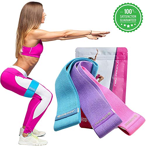 Fitophoria Resistance Bands for Effective Workouts – Heavy-Duty Resistance Bands for Hips, Glutes, Legs, Ankles, Back, ARMS & Shoulders – Set of 3 Resistant Bands