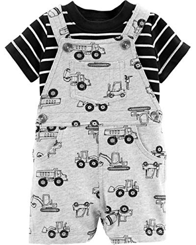Carter's Baby Boys' 2-Piece Tee & Shortall Set (6 Months, Gray, Black and ()
