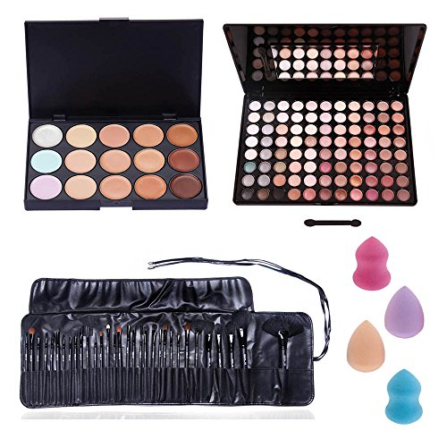 Amazing Deal And Quality Professional Make Up Artists Set With Palettes of 15 Blendable Concealers Shades / Tones, 88 Different Neutral Colors Eyeshadows / Eyes Shadows In Hard Cases, 32pcs Different Application Brushes In Soft Foldable Etui And 4 Different Latex Free Sponges Applicators / Blenders By VAGA