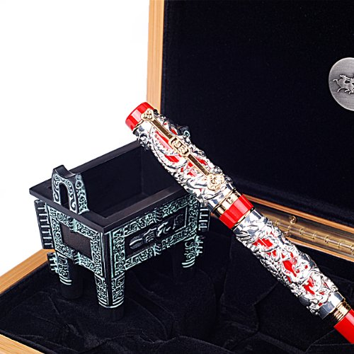 Silver Solid Dragon Red Base Collection Fountain Pen W Steel Si Mu Ting Ding Archaistic Ancient Cooking Vessel