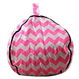 Flymall Stuffed Animal Storage Bean Bag Chair for Kids-| 18inch-38inch|Space Saver to Store Soft or Stuffed Toys (Pink, 32inch)