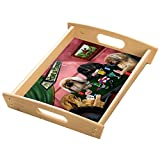 Home of Pekingese 4 Dogs Playing Poker Wood Serving Tray with Handles Natural